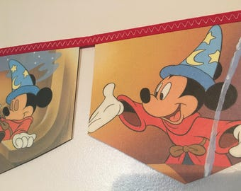 MICKEY MOUSE and the sorcerers apprentice rare vintage little golden book storybook banner garland baby shower bunting disney nursery decor