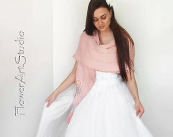 Bridesmaid Shawl Wedding Wrap Bridal Shawl Bridal Cover Up Wedding Bolero Bisque Knitted Shrug Peach Shawl Capelet Bridal Cape Shabby Chic