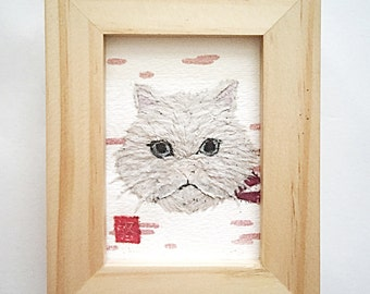 Cat Artwork, Persian Cat, White Cat, Cat Gifts. ACEO, Gift for Her