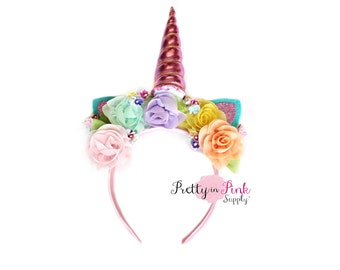 Spring Meadows Unicorn DIY Headband Kit #352- DIY Kit- Unicorn Headband- Kit- Rainbow Headband- ...