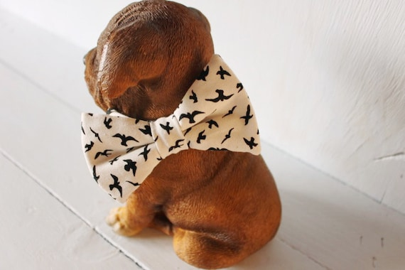 Dog bow tie >> Black and white bird bow with elastic >> Pet gift