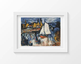 Cross Stitch Pattern PDF View of the Seine by Maurice de Vlaminck Cross Stitch Chart, Boat Instant Download (DEVLA01)