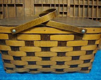 Rare Old Peterboro Picnic Basket