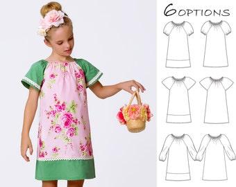 Peasant dress pattern pdf, girls sewing pattern pdf, girls dress pattern, girls peasant dress pattern, easy dress pattern, ANNA girls
