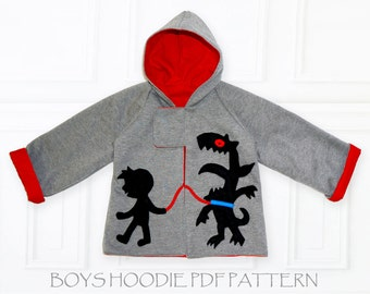 Boys Patterns, Jacket Patterns, Coat Patterns, Boys Sewing Patterns, PDF Sewing Patterns, Boys Pattern pdf, Kids Patterns, MONSTER HOODIE