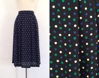 full midi skirt vintage full skirt womens 90s rayon skirt long skirt highwaisted elastic waist polka dot print high waisted