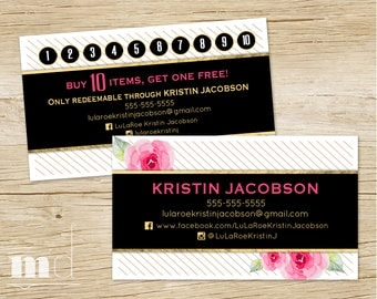 Custom Business Cards, Business Card / Punch Card Loyalty Promotion, Buy 10 Get One Stamp, Lula Marketing Black Gold Stripe Floral PRINTABLE