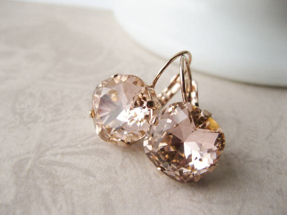 Blush and Rose Gold Bridesmaid Earrings Swarovski Crystal Elements Vintage Rose Wedding Jewelry Lightest Pink Bridal Earrings Romantic Drops