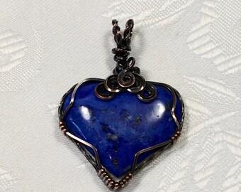 Lapis lazuli Heart Pendant, Antiqued Copper, Wire Wrapped