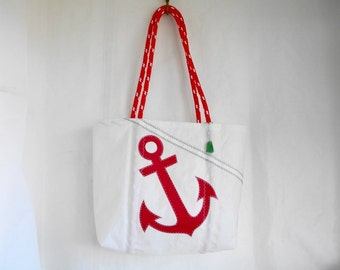 Large Recycled Sail RED ANCHOR Sea boat beach everyday bag topstitched