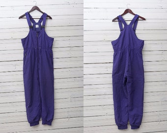 Men Ski Pants / 1980s Vintage Purple Violet Ski Pants / Snow Gear / Snowboarding Onepiece Onesie / Size 44 / Boys Mountain Ski Trousers