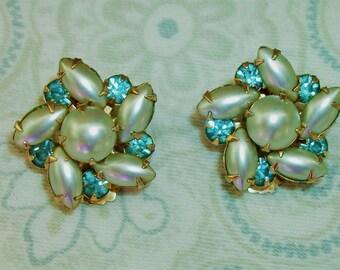 Vintage Blue Rhinestone and Pearl clip On Earrings