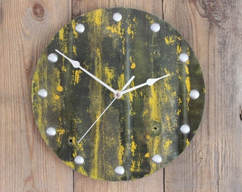 Industrial Metal Wall Clock with Yellow Paint Round 10 inch Diameter (17/024)
