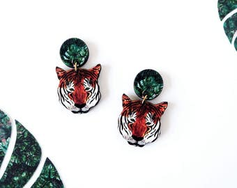 Statement Tiger Earrings - Dangle Earrings - Drop Earrings - Tiger Jewellery - Animal Earrings - Tiger Accessories - Modern Earrings
