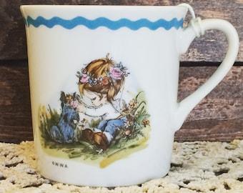 Vintage Table Talk Mug - Little Girl and Scottish Terrier