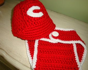 Reds baseball cap and diaper cover set for baby size 3-6 mos- Ready to Ship