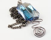 Square crystal necklace -...