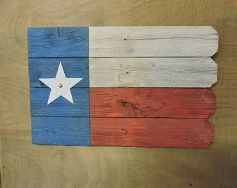 Texas Flag (#5) - recycled fence wood with distressed paint; with picket fence edge