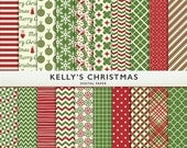 75% OFF SALE Kelly's Christmas Digital Paper - 20 sheets - Holiday - Scrapbooking Personal  Commercial  G7335