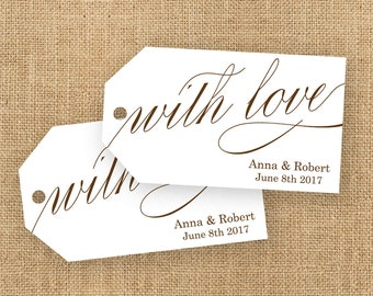 With Love Tag - Party Favor Tag - Personalized Tag - Wedding Favor Tag - Bridal Shower Tags - Custom Labels - MEDIUM