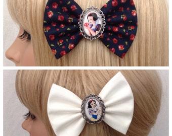 Snow White hair bow clip rockabilly psychobilly disney princess kawaii pin up fabric floral apple evil queen seven dwarfs ladies girls women