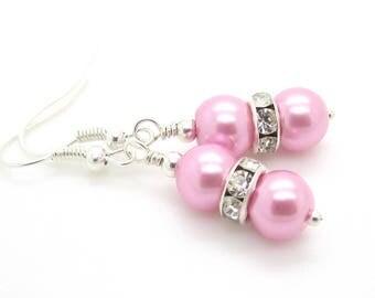 Petal Pink Wedding Earrings, Pink Bridesmaid Earrings, Matching Pearl Sets, Bridesmaid Jewellery, Bridal Party Gifts, Pink Pearl Drops