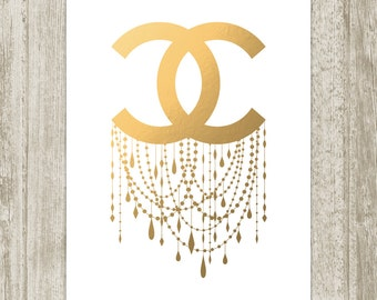 Coco Chanel Print, Printable Faux Metallic Gold Chandelier Poster, Fashion Wall Decor, Glamour Art 8x10 11x14 16x20 18x24 Instant Download