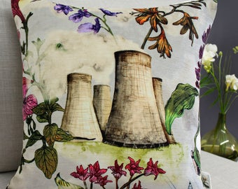 Cushion Industrial Floral, Flowers and Cooling Towers print - Concrete architectural floral home accessory