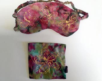 "Silk Charmeuse Sleep Mask, Handdyed & Hand-painted ""Floral"" - 100% Mulberry Silk Filled and Silk Charmesue Cover  ONE-OF-A-KIND"