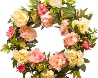 Pink and Cream Peony Wreath - Spring Wreath - Summer Wreath  (SW955)