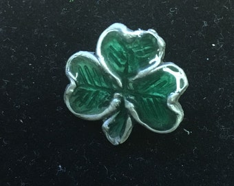 Shamrock with green resin fill lapel pin or tie tac