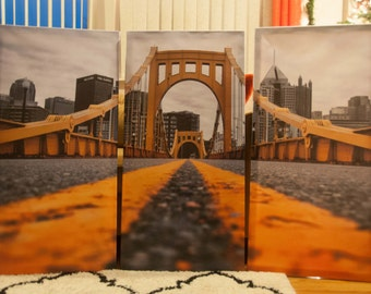 Pittsburgh Triptych, Fine Wall Art, Pittsburgh Bridge in gold, 40x60 Canvas Triptych black, and white - Black and Yellow