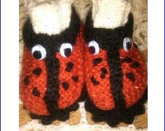 LADYBIRD BOOTS KNITTING Pattern, Double Knit Pattern, Baby Knitting Pattern, Baby Bootie Pattern, Baby Boots Pattern, Hand Knitted Boots h12
