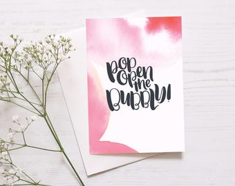 Fun Celebration Card: Pop Open The Bubbly // Congratulations // Celebration Card // Well Done // Exciting News // Engagement // Wedding