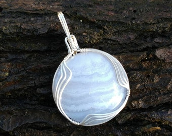 Blue lace agate silver wire wrapped pendant