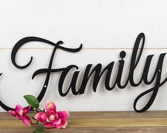 "Family Sign | Metal Sign | Metal Wall Art | Wall Hanging | Family | Script | Metal Wall Decor | Sign | Housewarming Gift | 20""W x 10""H"