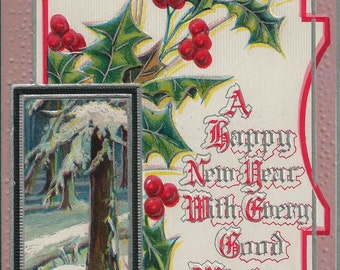 1909 Antique Happy New Year Postcard | A Happy New Year With Cheery Good Wish