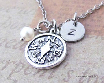 Compass Necklace, Personalized Hand Stamped Initial Birthstone Antique Silver Compass Charm Necklace