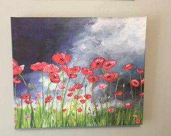 Poppy art, poppy painting, red poppies, poppy print, poppy wall art, poppy fine art, red flowers, red flower print, garden art, garden paint