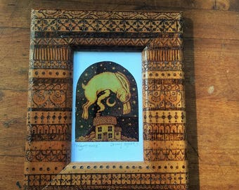 Night hare, Original Wood Burnt, Pyrography Frame