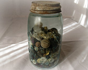 Antique Mason Jar - Blue Tint Jar - 1858 - Jar with Antique Buttons