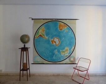 Original Vintage Large World Map - Southern Hemisphere - German School Map - Flemmings Verlag, Hamburg 1950s