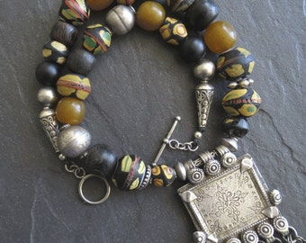 Antique African King Beads, Black Coral, Resin Amber Necklace & Uzbekistan Silver Pendant