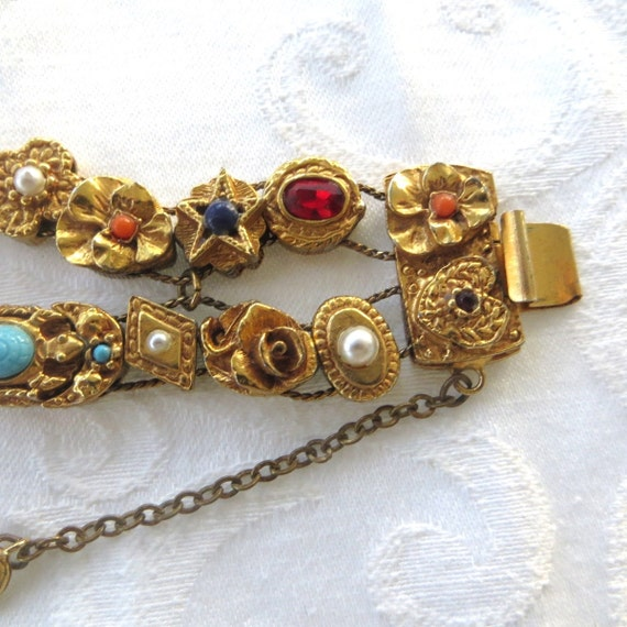 Victorian Revival Gold Tone Slide Charm Bracelet, Double Strand,Fleur de Lis, Cameo, Coral Pansy, Bugs, Carnelian and Turquoise Charms