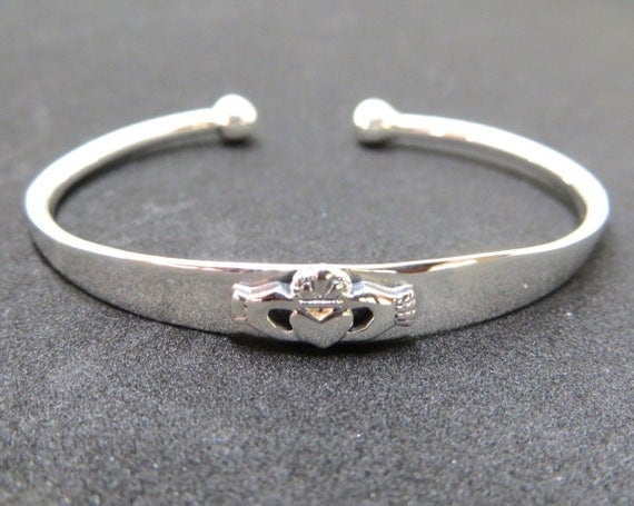 Claddagh Baby Bracelet, Irish Toddler Bracelet, Sterling Claddagh Cuff, Irish Jewelry