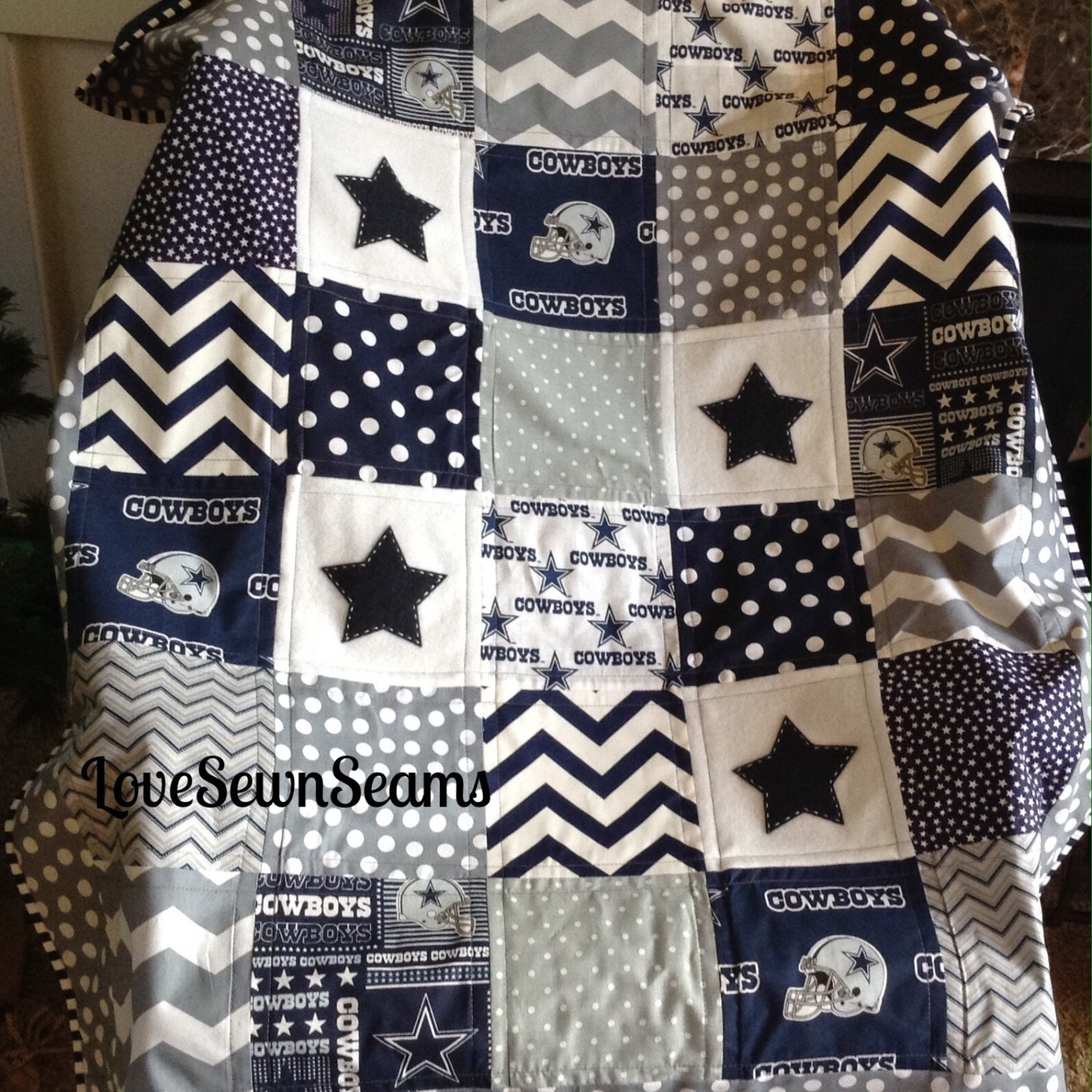 Dallas Cowboy Quilt In Navy Gray Amp White Nfl Dallas Cowboy