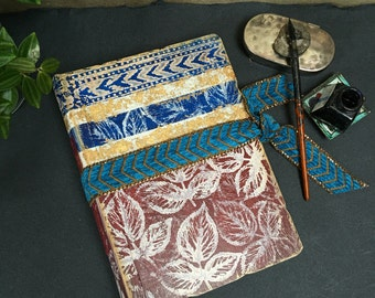 Handmade relief printed art journal, blue and red wedding guestbook or photo album scrapbook, 8.5x6 inch | Ready To Ship