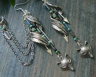 wolf ear cuffs woodland ear cuffs tribal ear cuff elfin feather cuff SET fox in boho gypsy  hipster  festival pow wow  hippie gypsy