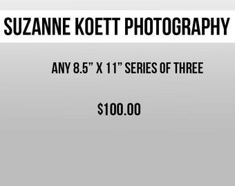 """Any three 8.5"""" x 11"""" Photographs"""