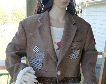 Cropped Hearts Tweed Jacket with antique buttons and intense embellishment